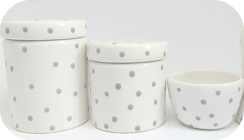 Kit Higiene Bebê Cerâmica|Branco com poá cinza| 3 Peças
