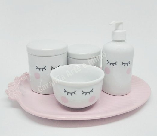Kit Higiene Bebê Porcelana Olhinhos com Bandeja Oval em Cerâmica