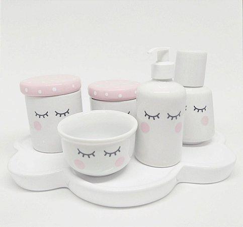 Kit Higiene Bebê Porcelana Olhinhos Com Moringa e Bandeja Nuvem