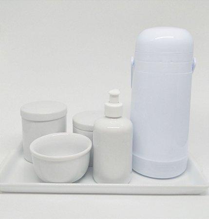 Kit Higiene Bebê Porcelana com Bandeja em Porcelana e Garrafa Térmica