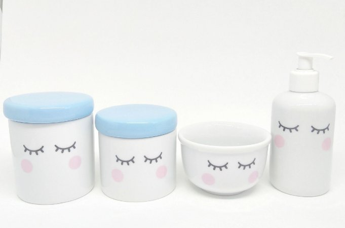 Kit Higiene Bebê Porcelana Olhinhos Cílios Tampas Azuis