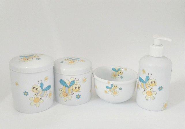 LIQUIDAÇÃO Kit Higiene Bebê Porcelana Abelhinhas 4 peças