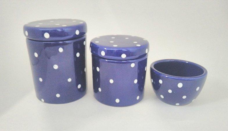 LIQUIDAÇÃO Kit Higiene Cerâmica Azul Marinho com Poá 3 peças