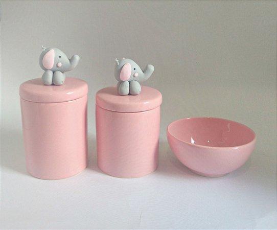 Kit Higiene Bebê Porcelana Rosa - Aplique Elefantinha-  3 peças