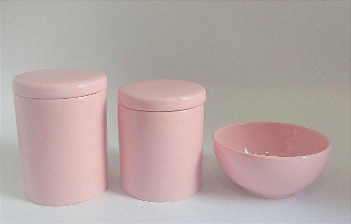 Kit Higiene Bebê Porcelana  Rosa  3 Peças