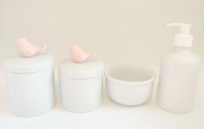 Kit Higiene Bebê Porcelana| Pássaros rosa Antigo | 4 Peças