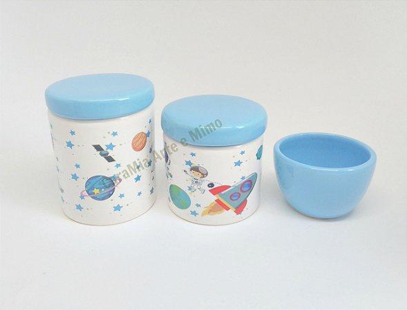 kit Higiene Bebê Porcelana - Astronauta no espaço - 3 peças