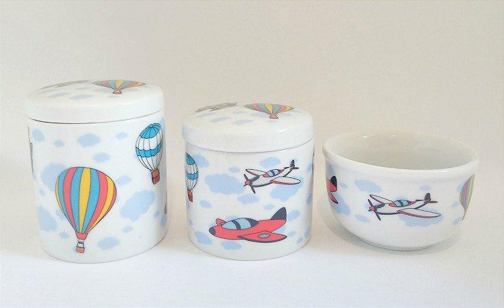Kit Higiene Bebê Porcelana - Avião, balão - 3 peças