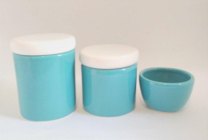 LIQUIDAÇÃO Kit Higiene Bebê Cerâmica - Verde - 3 peças