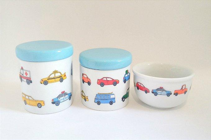 LIQUIDAÇÃO Kit Higiene Bebê Porcelana  Carrinhos/ carros  3 Peças