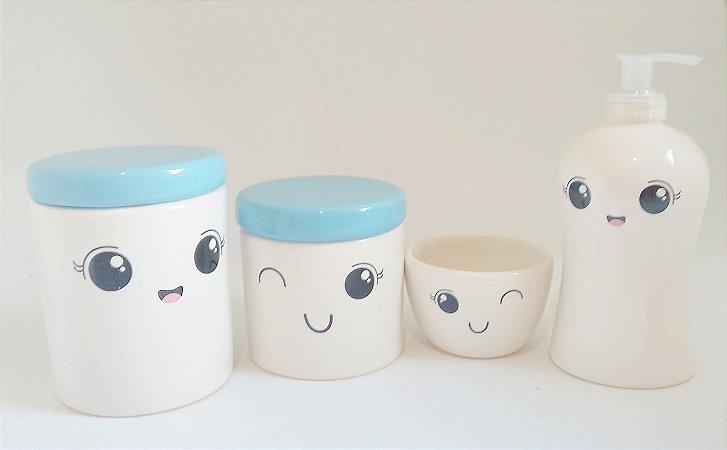 Kit Higiene Bebê Cerâmica |Rostinho/olhinhos/cílios | 4 peças