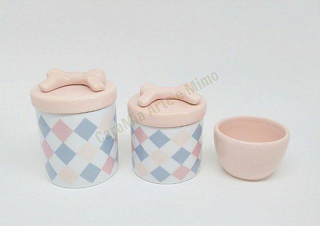 Kit Higiene Bebê Porcelana Losango com Laço  3 Peças