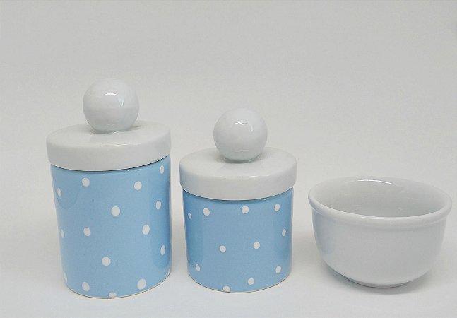 Kit Higiene Bebê Cerâmica | Azul Bebê com Tampas de Bolinhas| 3 Peças