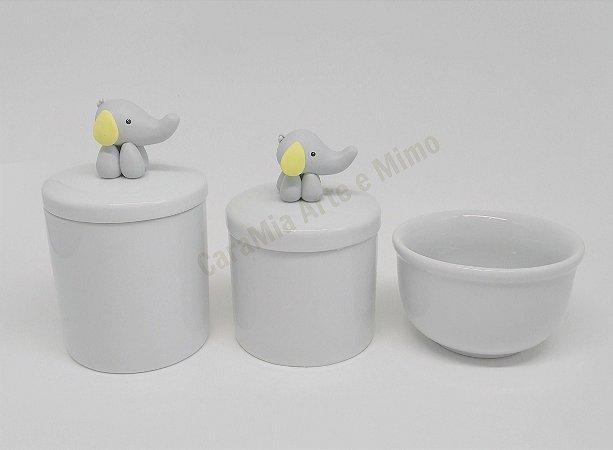 Kit Higiene Bebê Porcelana|Elefantinho Biscuit Amarelo | 3 Peças