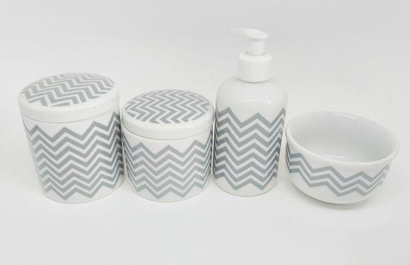 Kit Higiene Bebê Porcelana  Chevron Cinza   4 Peças