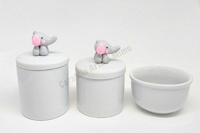 Kit Higiene Bebê Porcelana | Elefante Orelha Rosa em Biscuit |3 peças
