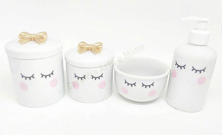 Kit Higiene Bebê Porcelana | Olhinhos Cílios Laço Dourado |4 peças