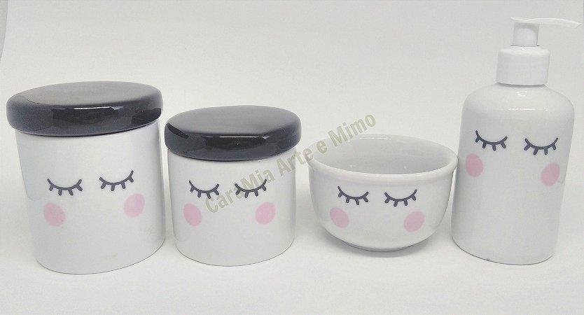 Kit Higiene bebê Porcelana Olhinhos Cílios com Tampa Preta | 4 peças|