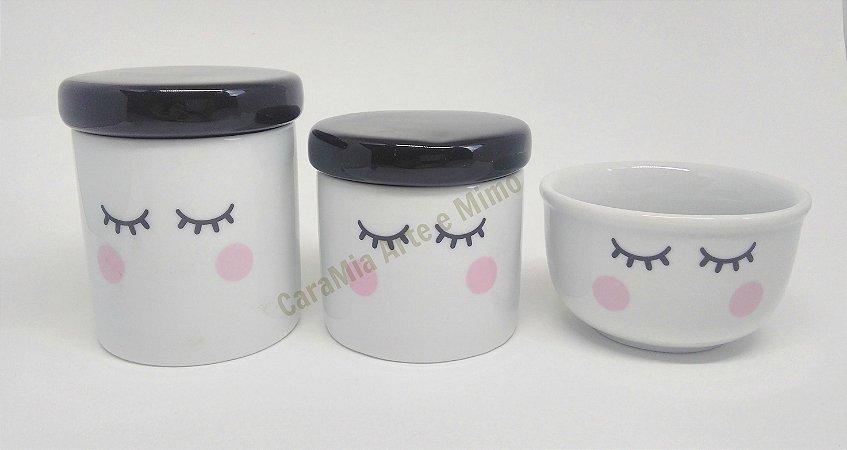 Kit Higiene bebê Porcelana Olhinhos Cílios com Tampa Preta | 3 peças|