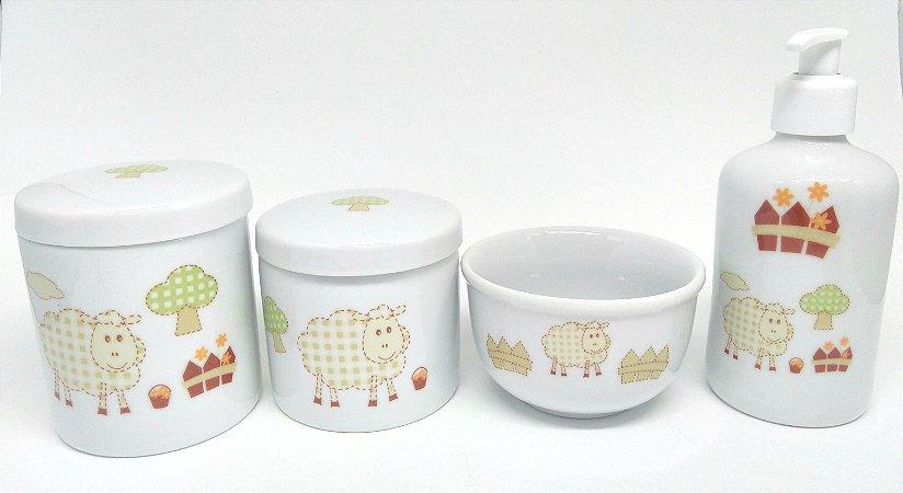 Kit Higiene Bebê Porcelana | Ovelhinha Cute| 4 peças