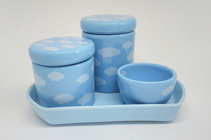 Kit Higiene Bebê Cerâmica Nuvem Azul com Bandeja Nuvem