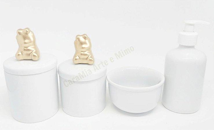 Kit Higiene Bebê Porcelana| Ursinha Cerâmica em Dourado | 4 Peças