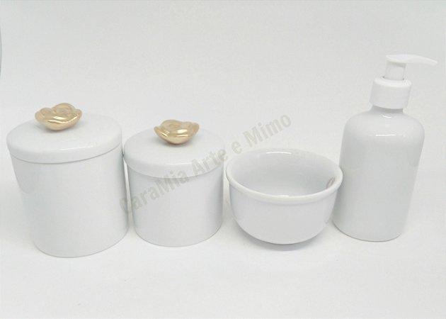 Kit Higiene Bebê Porcelana| Rosa em Dourado| 4 Peças