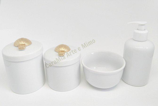 Kit Higiene Bebê Porcelana |Balão em Resina Dourado| 4 peças
