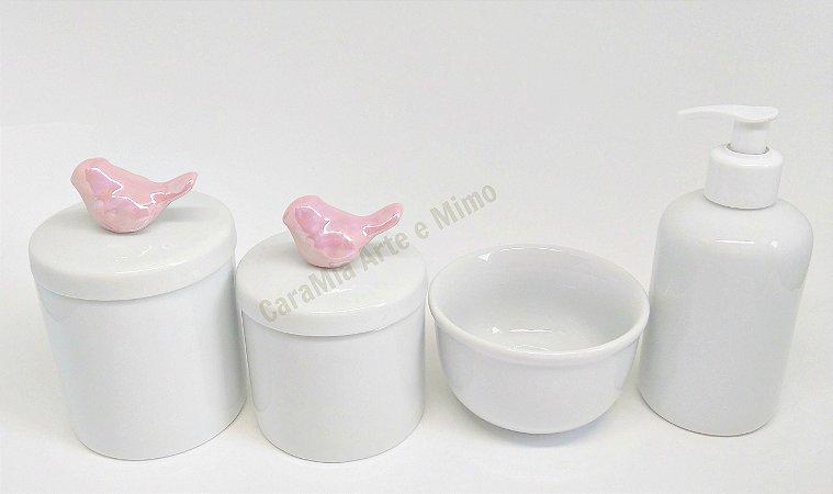 Kit Higiene Bebê Porcelana | Branco com Pássaro Rosa Perolizado| 4 peças
