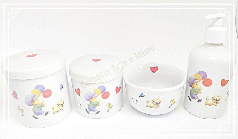 Kit Higiene Bebê Porcelana |Balão Menino e Cachorrinho| 4 peças