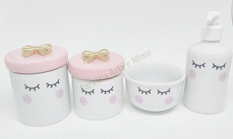 Kit Higiene Bebê Porcelana | Olhinhos Cílios lacinho Dourado | 4 peças