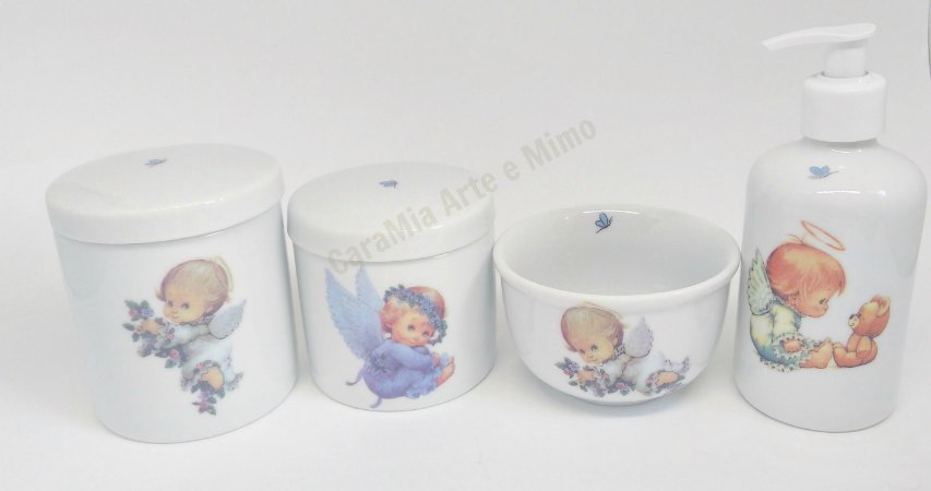 Kit Higiene Bebê Porcelana  | Anjos & Anjinhos | 4 peças