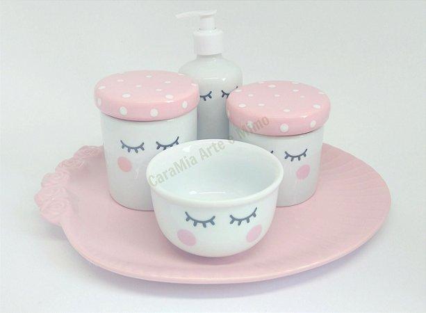 Kit Higiene Bebê Porcelana | Olhinhos Cílios com Bandeja e tampas com poá | 5 peças