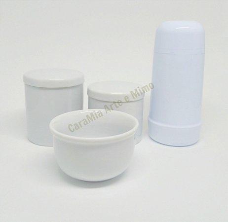 Kit Higiene Bebê Porcelana Branca com Garrafa Térmica de Rosca 250ml ( kit básico)