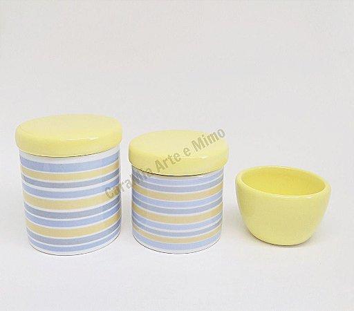 Kit Higiene Bebê Porcelana com Faixas Azuis, Cinzas e Amarelas