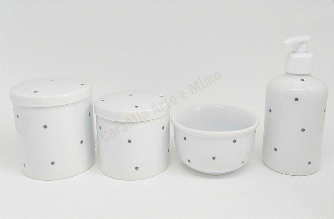 Kit Higiene Bebê Porcelana | Poá Preto| 4 peças