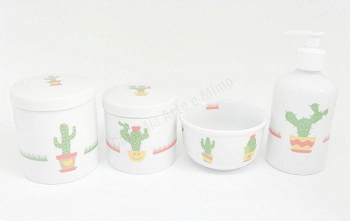 Kit Higiene Bebê Porcelana   Cactos   4 peças