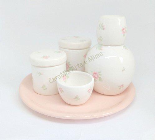 Kit Higiene Bebê Cerâmica Floral com Bandeja em Cerâmica e Moringa 750ml
