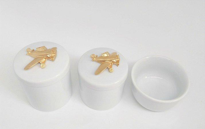 Kit Higiene Bebê Porcelana | Aviãozinho | Avião| Dourado
