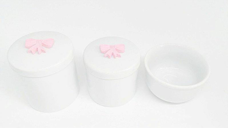 Kit Higiene Bebê Porcelana  Mini Laço Rosa  3 peças