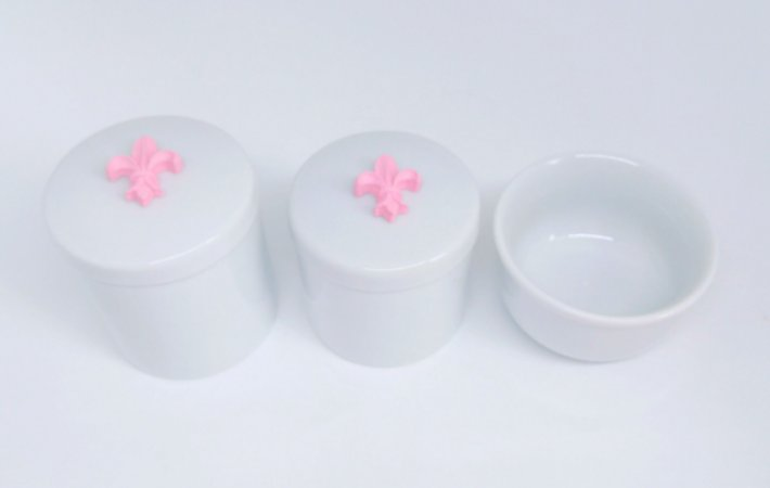 Kit Higiene Bebê Porcelana | Flor de Lis Rosa | 3 peças