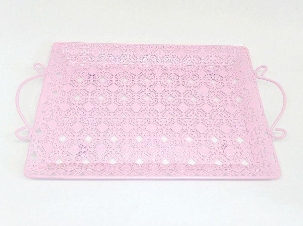 Bandeja de Ferro Rosa Grande para Kit e para Garrafa