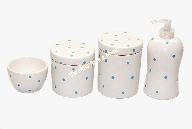 Kit Higiene Bebê Cerâmica | Petit Poá Azulzinho | 4 Peças