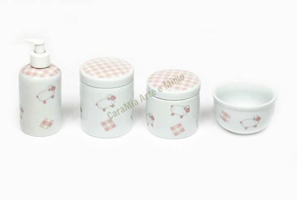 Kit Higiene Bebê em Porcelana| Ovelha Rosa |4 peças