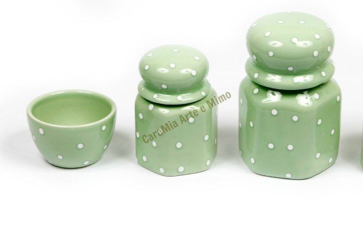 Kit Higiene Bebê Cerâmica - Verde com Poá Branco 3 peças