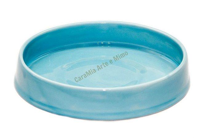 Bandeja em Cerâmica Azul Bebê 21 cm