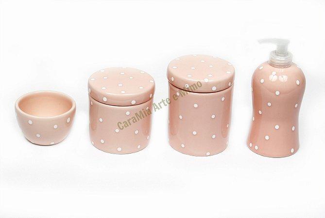 Kit Higiene Bebê Cerâmica|Rosa Antigo com Poá Roma | 4 Peças |