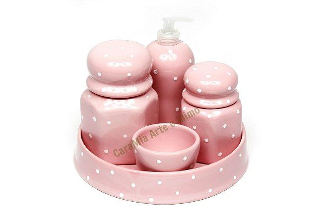 Kit Higiene Bebê Cerâmica | Rosa Bebê Sextavado+ Bandeja Redonda  | 5 Peças |