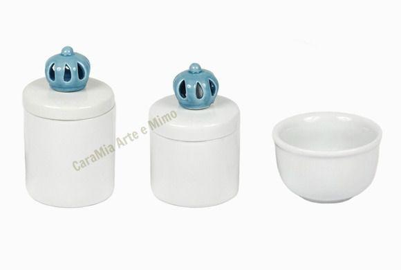 Kit Higiene Bebê Porcelana | Um Reinado Coroa Azul | 3 Peças