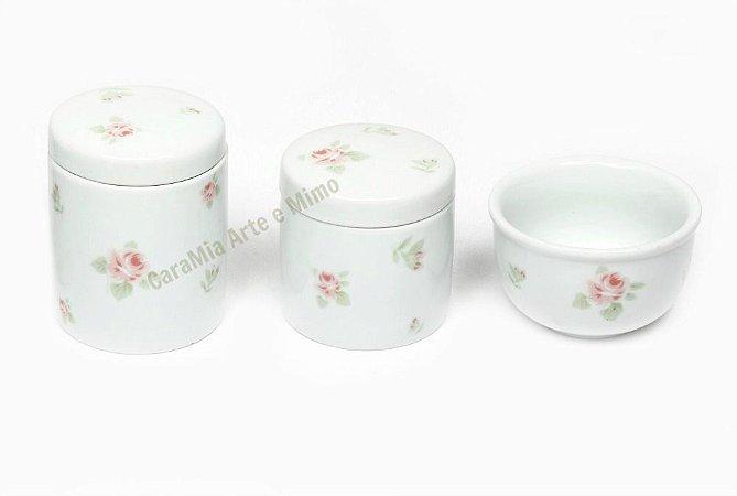 Kit Higiene Bebê Porcelana| Campo de Rosas | 3 Peças |
